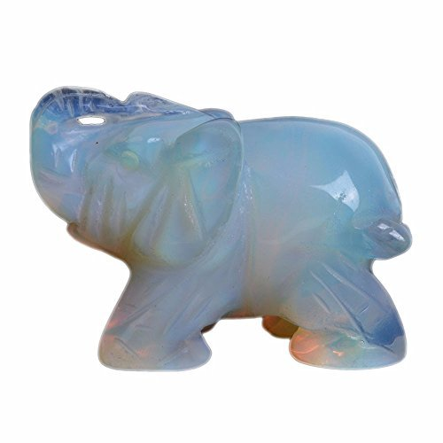 - Carved Opalite Moonstone Glass Elephant Healing Guardian Statue Figurine Crafts 2 inch