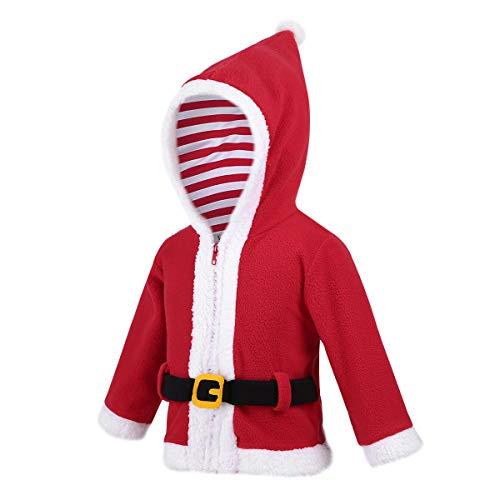 Alvivi Toddler Baby Boys' Girls' Christmas Santa/Elf Outfit Costumes Vevelt Hoodie Jacket Coat Festive Suit Red -