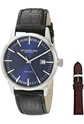 Stuhrling Original Men's 555A.04 Analog Classic Ascot II Swiss Quartz Movement Blue Dial Black Watch with Interchangeable Brown Leather Strap