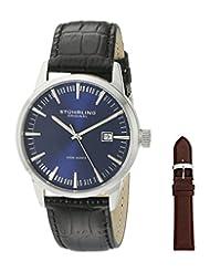 Stuhrling Original Men's 555A.04 Classic Ascot II  Swiss Quartz Date Blue Dial Strap Set Watch