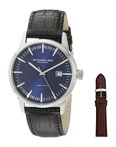 Blue Mens Quartz (Stuhrling Original Men's 555A.04 Analog Classic Ascot II Swiss Quartz Movement Blue Dial Black Watch with Interchangeable Brown Leather)