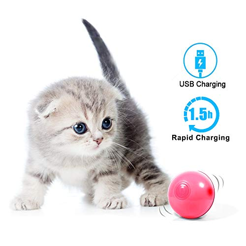 MHMYDIS Smart Interactive Cat Toy - USB Rechargeable 360 Degree Self Rotating Ball Build-in Spinning Led Light, Automatic Rolling Pet Toy Stimulate Hunting Instinct for Your Kitty and Dogs 2