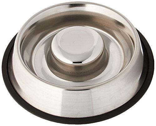 Iconic Pet Slow Feed Stainless Steel Pet Bowl for Dog or Cat, Medium/24-Ounce - Steel Feed
