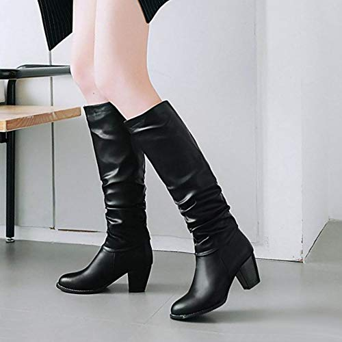 Taoffen Fashion Boots Long Block Black Heel Women ggx5qOrC
