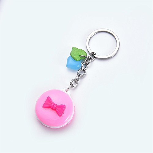 Dalino Fashion and Personality Macarons Cookies Pendant Resin Keyring Purse Hand Bag Keychain Gift (Random Color)