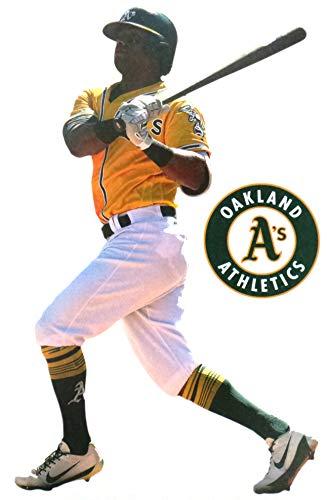 FATHEAD Khris Davis Mini Graphic + Oakland Athletics Logo Official MLB Vinyl Wall Graphics 7