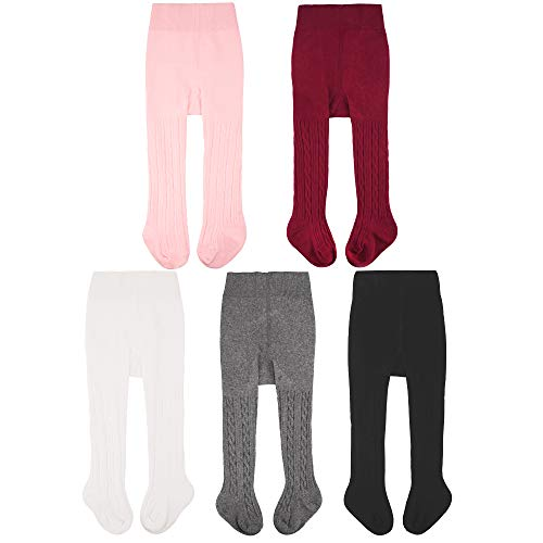Tights Fashion Ribbed (CozyWay Baby Girls Tights Cable Knit Cotton 3/5 Pack Leggings Pantyhose Infants Toddlers)