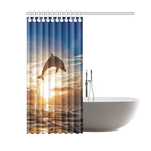 CTIGERS Cute Dolphin Jumping in the Sunset Shower Curtain for Kids Polyester Fabric Bathroom Decor 60 x 72 Inch