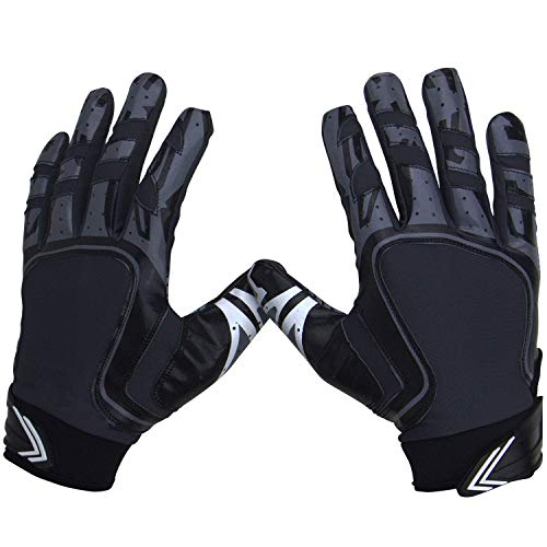 Pure Athlete Football Receiver Gloves - Elite-Stick Silicone Gripping Technology - Youth Sizes (Black, Youth Large)