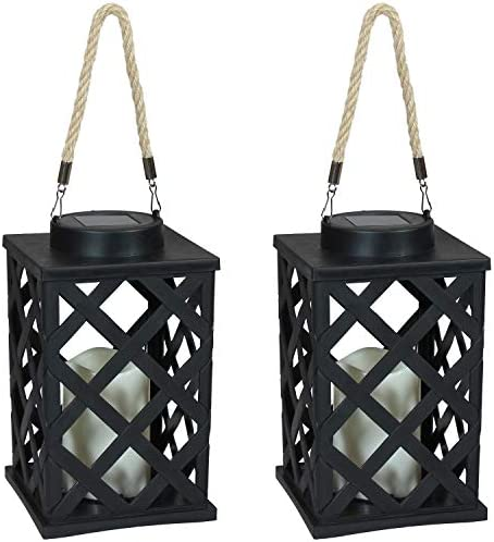 Sunnydaze Modern Crosshatch Outdoor Solar LED Decorative Candle Lantern – Rustic Farmhouse Decor for Patio, Porch, Deck and Garden – Tabletop and Hanging Outside Light – Set of 2-9-Inch