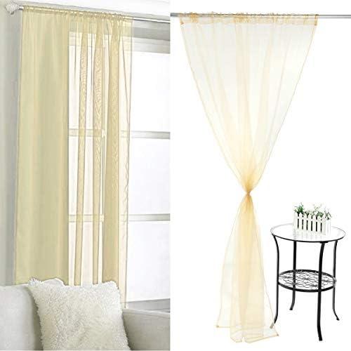 Anladia 2 pezzi 148 x 206 cm trasparente beige tenda con passanti nascosti tenda decorativa voile tenda universale nastro Organza