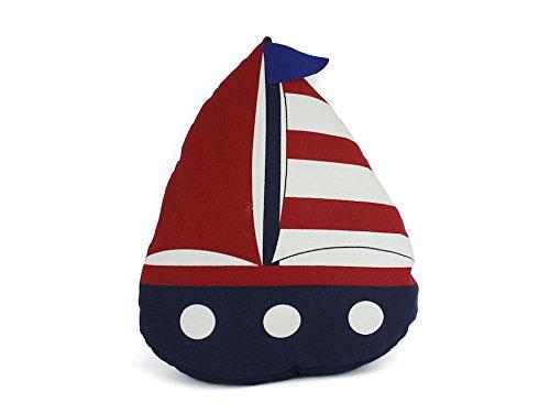 "Hampton Nautical  American Sailboat Decorative Thrown Beach Home Decorating Ideas Accessories, 17"", Blue"