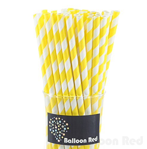 Biodegradable Paper Drinking Straws (Premium Quality), Pack of 50, Striped - Yellow