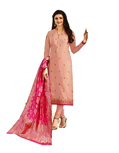 Laxminarayan Pink Georgette Embroidered Long Churidar Straight Salwar Suit with Banarasi Silk Dupatta - Silk Suit Churidar