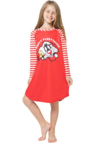 Looney Tunes Girls 'Santa Tweety and Bugs Bunny Holiday Merry Christmas' Fleece Striped Pajama Gown Red, 7/8 ()