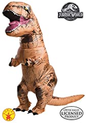 Travel back in time as a fearsome and ferocious tyrannosaurus rex in this t-rex inflatable full-body costume with clear vinyl vision port in character neck. Gloves with elastic at wrists; battery operated fan (batteries not included). importa...