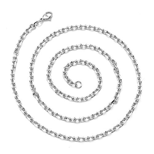 Zysta 3mm Sturdy Nickel Free Stainless Steel 26 inch Lobster Clasp Trace Chain Necklace Women Men Neck Rope Cable Link Replacement Charms ()