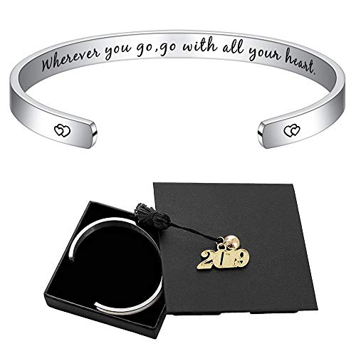 M MOOHAM Inspirational Graduation Gifts Bracelet - 2019 Wherever You Go Go with All Your Heart Cuff Bracelet Inspirational Graduation Gifts Retirement Jewelry Gifts for Her with 2019 Graduation Cap - Graduation Jewelry Gift