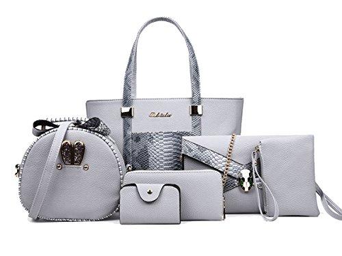 Gray Snake (Zzfab 6 pcs Snake Skin Leather Bag Set Grey)