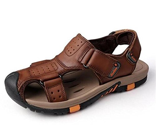 vera EU41 XIE Scivoli Taglia Outdoor Beach in da con Toe uomo DARKBROWN Closed Antiscivolo traspiranti velcro Brown Scarpe Walking 44 pelle EU44 38 a Walking Trekking Summer Sandali T4rwRX4Pxq