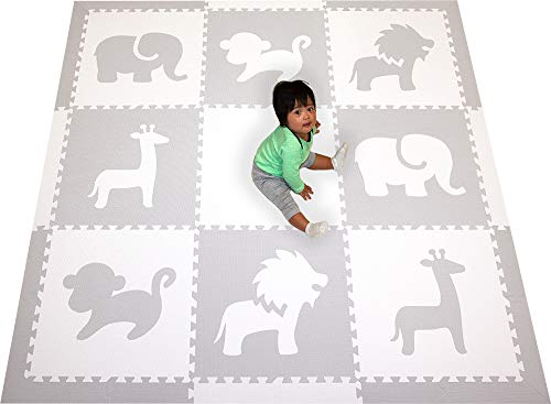 - SoftTiles Foam Play Mat Safari Animals Premium Interlocking Foam Large Children's and Baby Playmat 6.5 x 6.5 ft. (Light Gray, White) SCSAFWH