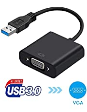 USB 3.0 to VGA, ?USB to VGA Video Adapter Converter, USB to VGA Video Graphic Card Display External Cable Adapter for PC Laptop Windows 7/8/8.1/10/ etc (Black)