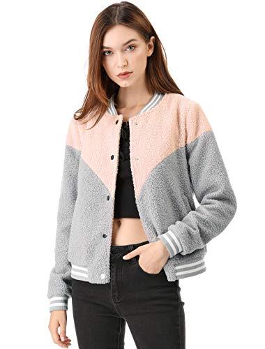 Allegra K Women's Color Block Faux Fuzzy Shearling Fleece Bomber Jacket M Pink