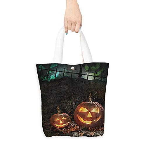 Long Handled Tote Bag Halloween pumpkins on rocks in a forest at night Practical and Eco-Friendly W11 x H11 x D3 INCH