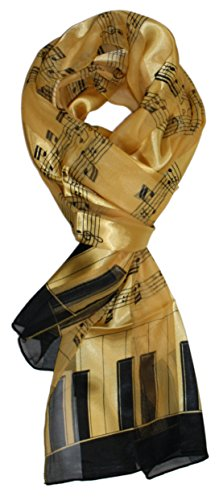 Ted and Jack - Music Lovers Silk Feel Print Scarf (Gold Music Notes)