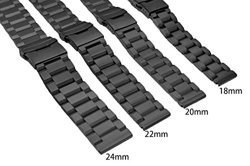 24mm Black Matte Wrist Bracelet Top Grain Stainless Steel Replacement Watch Band with Double Locks by SINAIKE (Image #5)