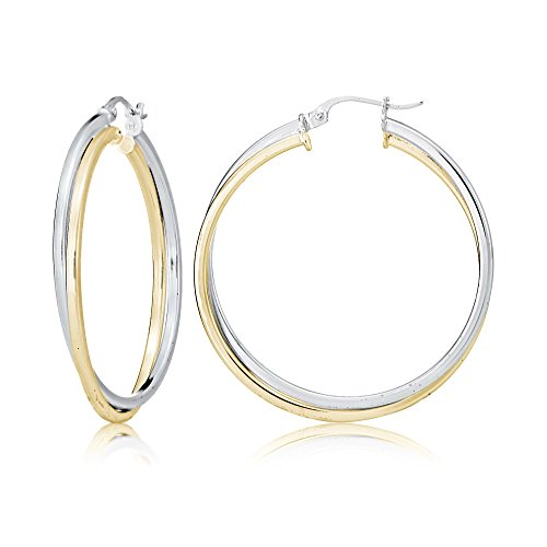 Sterling Silver Twisted Tube (Sterling Silver Two-Tone Square-Tube Double Twisted 37mm Round Hoop Earrings)