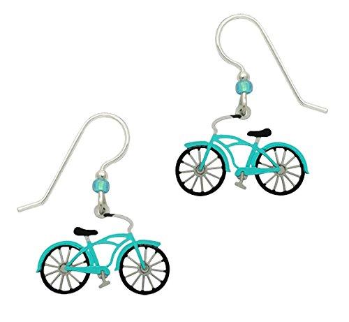 Sienna Sky Vintage Style Aqua Bicycle Earrings 1596