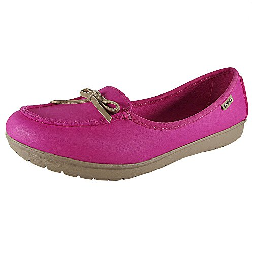 Candy Pink Ballerina - Crocs Womens Wrap ColorLite Ballet Flat Shoes, Candy Pink/Tumbleweed, US 11
