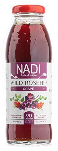NADI USDA Organic Wild Rosehip Grape Juice rich in Antioxidants, Great Immune System Booster, Organic Vitamin C, No Sugar Added, Gluten Free, Non GMO 10 oz (pack of 8)