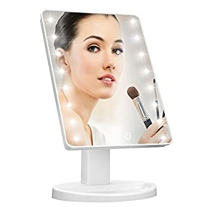 Lighted Vanity MakeUp Mirror with Smart Dimming Touch Screen Adjustable Brightness 180 Rotation High Definition Clarity Room Decor Valentine's Mother's Day Gift For Lovers Teens Girls Ladies Womens