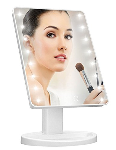 Lighted Vanity Makeup Mirror with 16 Led Lights 180 Degree Free Rotation Touch Screen Adjusted Brightness Battery USB Dual Supply Bathroom Beauty Mirror ()