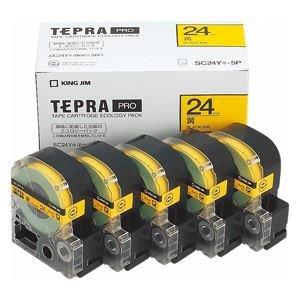 日用品雑貨 ラベルシールプリンタ 関連商品 PROテープエコパック 24mm 黄 5個入 SC24Y-5P B07F72TNG2