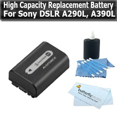 (Replacement High Capacity (1000 mAH) Battery for Sony NP-FH50 for Sony Alpha DSLR-A290L + Alpha DSLR-A390L A330L A330 DSC-HX100, DSC-HX200V Digital SLR Cameras + Microfiber Cleaning Cloth +More)