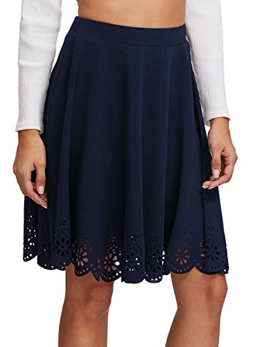 SheIn Women's Basic Stretchy Scallop Hem A Line Skirt Medium Navy Basic Skirt