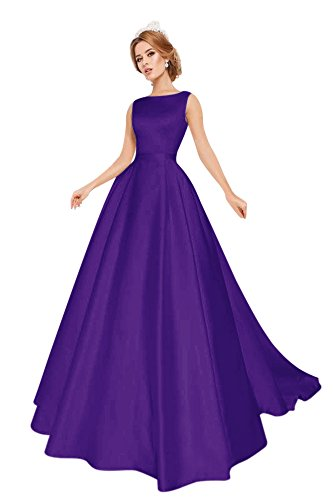 6e07038fad Harsuccting Scalloped Neck Backless Chapel Train Satin Long Wedding Dress  Purple 14