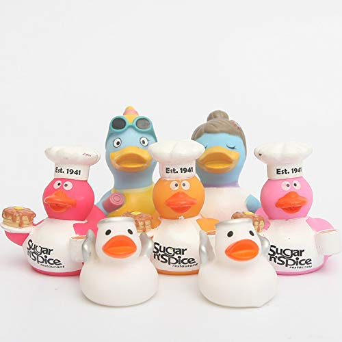 GonPi | Bath Toys| 1 Set 6pcs Floating Ducks Cute Baby Small White Angel Duck/piunk Chef Duck Rubber lassic Toys Gift for Boys Girls Baby