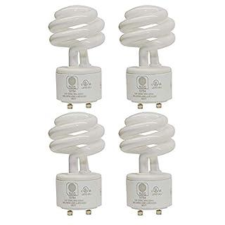 SleekLighting - 13Watt GU24 Base 2 Prong Light Bulbs- UL approved-120v 60Hz - Mini Twist Lock Spiral -Self Ballasted CFL Two Pin Fluorescent Bulbs- 4200K 900lm Cool White 4pack (60Watt Equivalent)