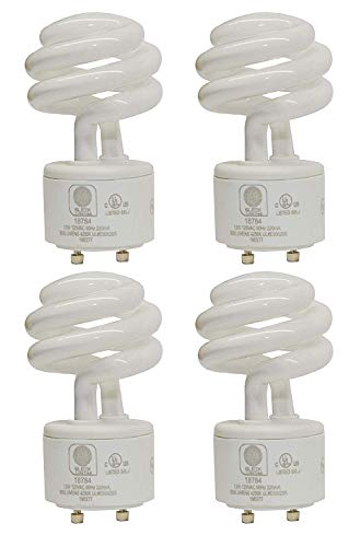 SleekLighting - 13Watt GU24 Base 2 Prong Light Bulbs- UL approved-120v 60Hz - Mini Twist Lock Spiral -Self Ballasted CFL Two Pin Fluorescent Bulbs- 4200K 900lm Cool White 4pack (60Watt Equivalent) ()