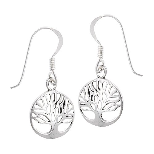 .925 Sterling Silver Round Filigree Tree of Life Dangle French Wire (Silver Filigree Tree)