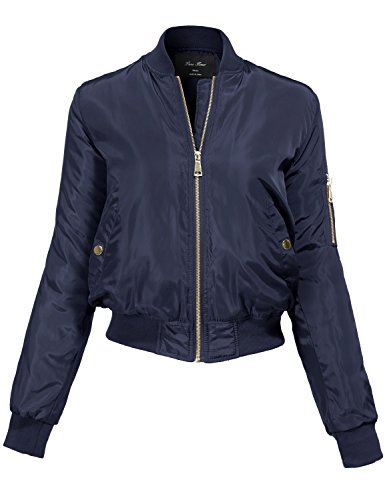 Belted Classic Belt (Luna Flower Women's Warm Relaxed Fit Padding Zipper Bomber Jackets, navy,)