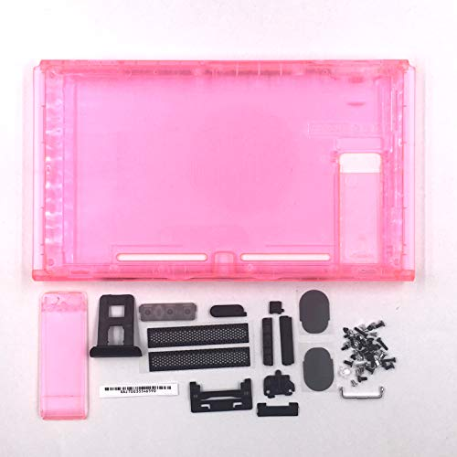 - Faceplate for Nintendo Switch NS Hard Housing Shell Front Faceplate Back Cover Case with Buttons Kit Replacement - Clear Pink