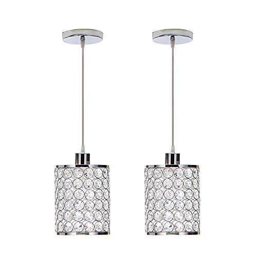 MonDaufie 2-Pack Modern Crystal Pendant Lights,Chrome Finish Hanging Pendant Lighting,Adjustable Pendant Lights for Kitchen Island Bar Bedroom - Ceiling Light Pendant One 2
