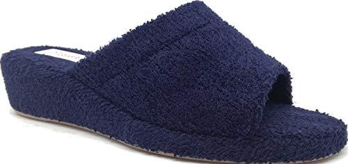 Donna Pantofole Antiscivolo Aperte Spugna 4 Bagno Zeppa Blu Cm Ciabatte 3rose Sughero Leggere Interno Xq5ZYY