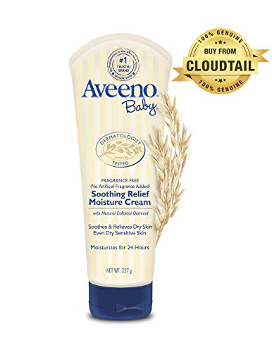 Aveeno Baby Soothing Relief Moisturizing Cream with Natural Oat Complex for Dry Sensitive Skin, Fragrance-free & Paraben-Free, 8 oz