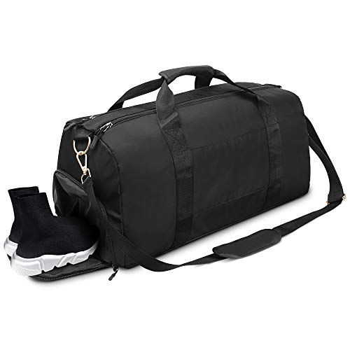 AIRSSON Sports Gym Bag, Travel Duffle Bags Waterproof Large Yoga Bag, Shoulder Carry On Handbag for Travel/Overnight Weekend Mens Womens Medium (Black)